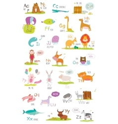 Cute zoo alphabet with cartoon and funny vector