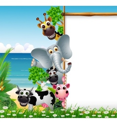Wild african animal cartoon with blank sign vector