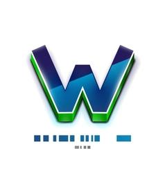 3d w letter tecnology business symbol vector