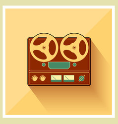 Open reel recorder on retro vintage background vector
