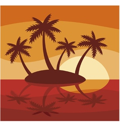 Tropical island with four palms vector