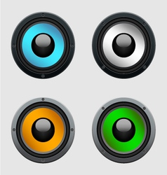 Set of four colorful shiny speakers vector