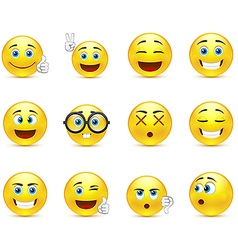 Smiley faces images expressing different emotions vector