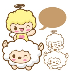 Playing cute little sheep angel sheep and angel ch vector