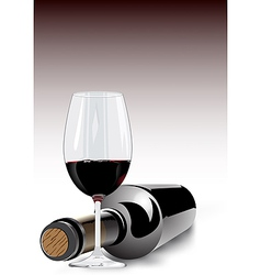 Red wine in a glass and bottle vector
