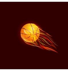 Flying baseball ball in flame vector