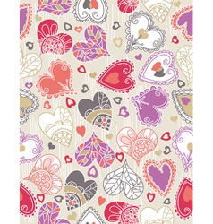 Valentines background with color hearts vector