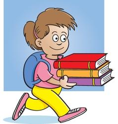 Cartoon girl carrying books vector