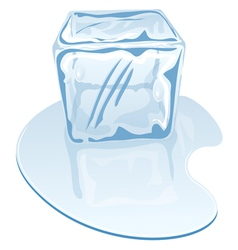 Blue half-melted ice cube vector