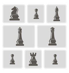 Monochrome icons with chess pieces vector