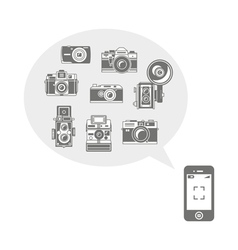 Retro photo cameras in phone vector
