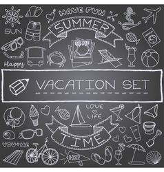 Handdrawn vacation icons vector