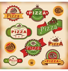 Vintage pizza labels vector