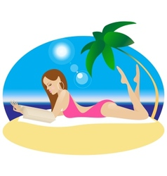 A girl is lying on a beach and reading a book vector