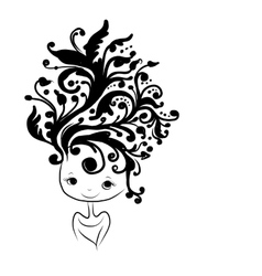Female head silhouette floral hairstyle for your vector