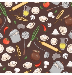 Kitchen and food seamless pattern vector