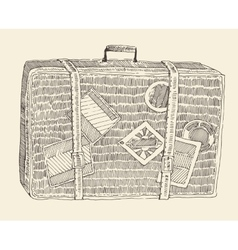 Suitcase luggage engraved retro hand drawn sketch vector