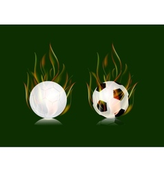 Soccer balls in fire flame vector