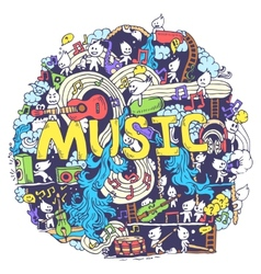 Abstract musical art with funny creatures hand vector