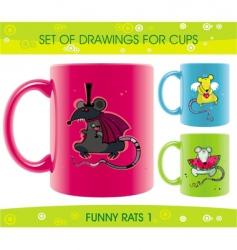 Cartoon cups vector