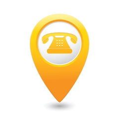 Phone icon yellow pointer vector