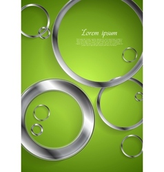 Bright green backdrop with metallic circles vector