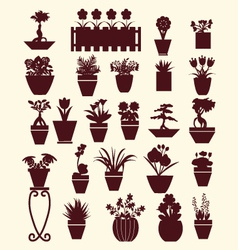 Set of flowers in pots plants garden vector