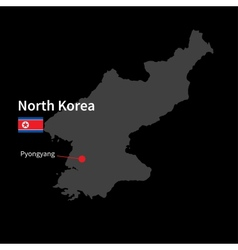 Detailed map of north korea and capital city vector