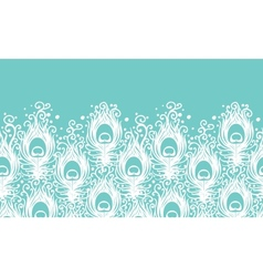 Soft peacock feathers horizontal seamless pattern vector