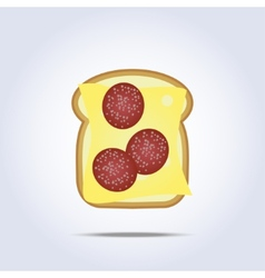 White toast with cheese and salami icon vector