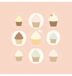9 different cute cupcakes vector