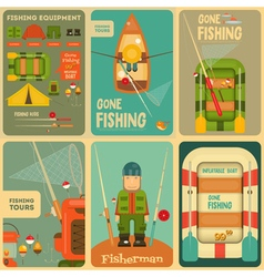 Fishing posters vector