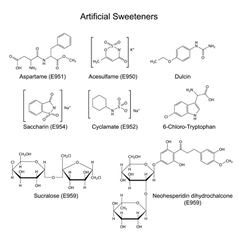 Artificial sweeteners - food additives vector
