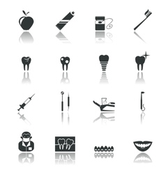 Dental icons black vector