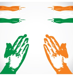 Praying in hand india flag color vector