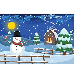 Winter night scene vector