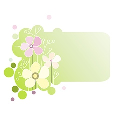 Green banner with flowers vector