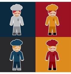 Flat sticker of chef vector