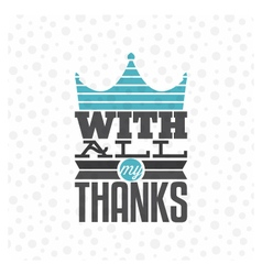 Vintage thank you card vector