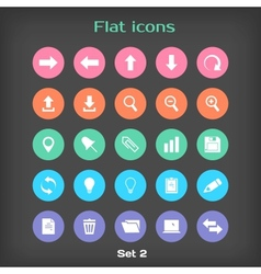 Round flat icon set 2 vector