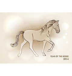 Happy chinese new year of horse 2014 postcard vector