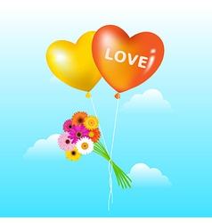 Balloons with bunch of daisies vector