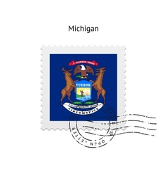 State of michigan flag postage stamp vector