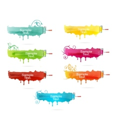 Grunge colored brush set vector