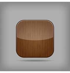 Glossy wooden app button vector