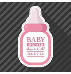 Pink baby bottle card vector