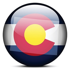 Map on flag button of usa colorado state vector