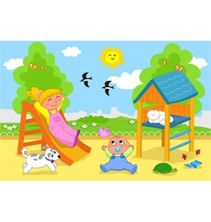 Cute children at the playground in spring vector