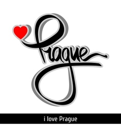 Prague greetings hand lettering calligraphy vector