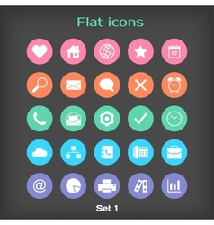 Round flat icon set 1 vector